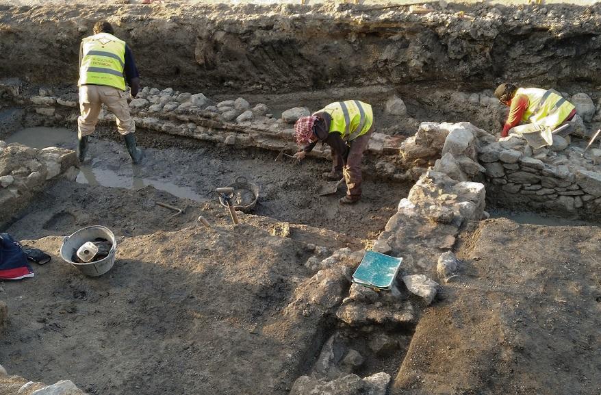Excavació arqueològica de les restes de la ciutat romana d'Aquae Calidae, a Caldes de Malavella (gener 2018), sota la direcció de l'arqueòleg Joan Llinàs i Pol.